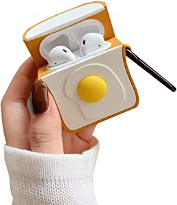 ICI-Rencontrer Super Creative Toast Fried Egg Design Airpods Case Fresh Tempting Food AirPods Accessories Wireless Earphone Soft Silicone Anti-Scratch Protector Carabiner
