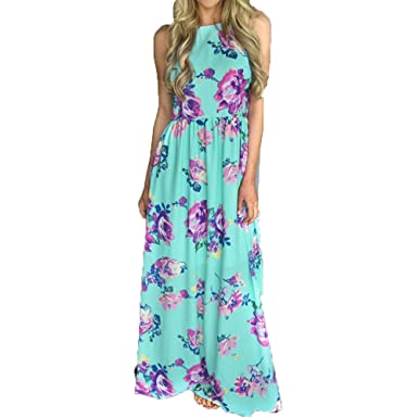 WINWINTOM Womens Dresses Ruffle Spaghetti Strap Wrap Split Floral Print V Neck Asymmetric Sleeveless Maxi Boho