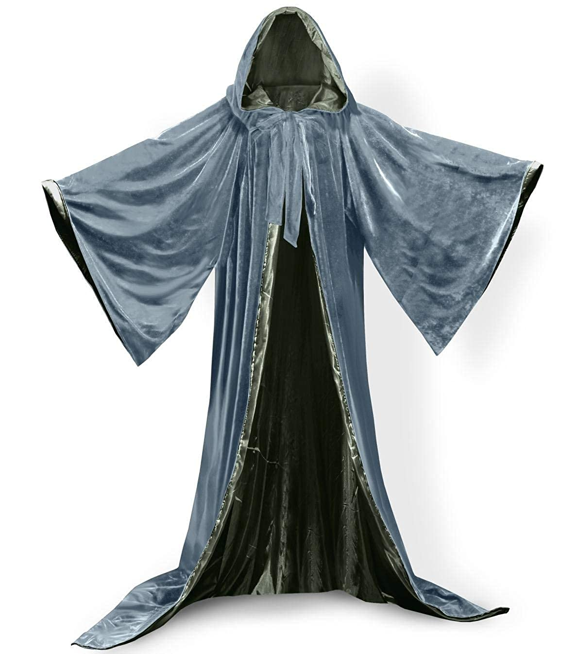 Silverolive Green XXL ShineGown Silver Medieval Wizard Robe with Hoods Halloween Cloak Long Sleeves Velvet Unisex Masquerade for Christmas Party Costume Ball Gothic Full Length Cape Cosplay Fancy Coat Many colors