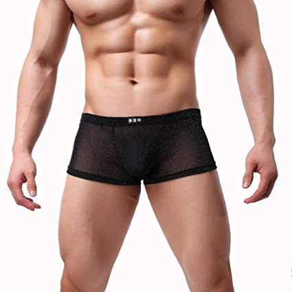 de2393e1f477 Mens Underwear Breathable, Men Comfortable Underpant Transparent Boxer  Briefs Nightwear Sleepwear (Black, M