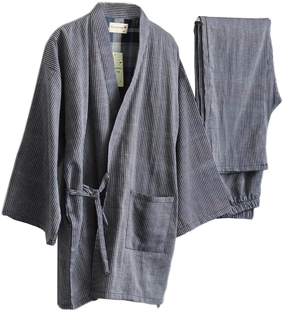 Traje de Pijama de Kimono de Gasa de Estilo japonés para Hombre de ...
