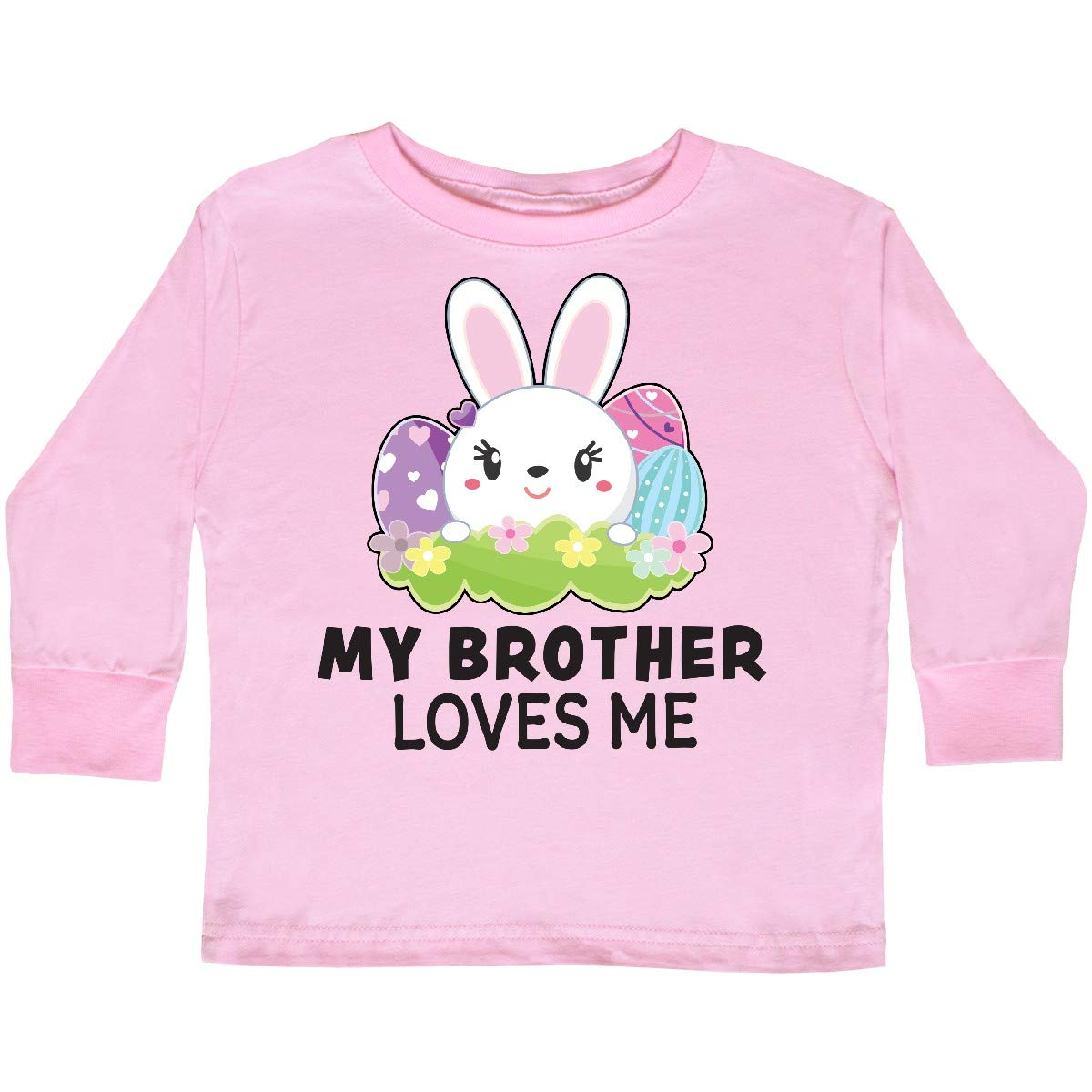 inktastic My Brother Loves Me with Bunny and Easter Toddler Long Sleeve T-Shirt