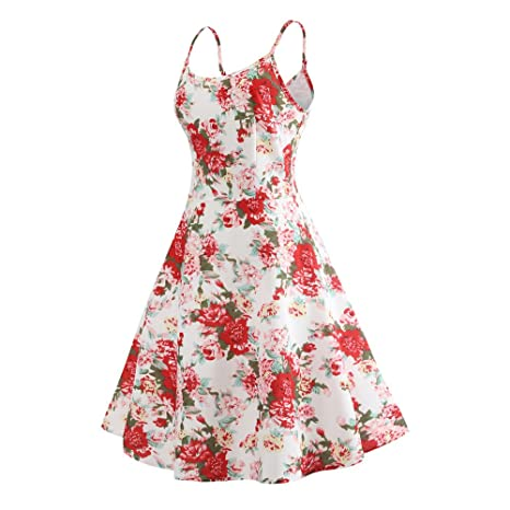 Women Dresses Godathe Women Vintage Printing Bodycon Sleeveless Casual Evening Party Prom Swing Dress S-XL at Amazon Womens Clothing store: