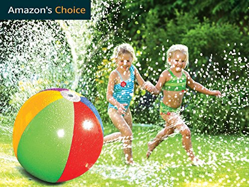 Yeslike Splash and Spray Ball, 30in-Diameter Inflatable Sprinkler Water Ball Outdoor Fun Toy for Hot Summer Swimming Party Beach Pool Play (colorful)