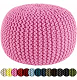 Cotton Craft - Hand Knitted Cable Style Dori Pouf - Pink - Floor Ottoman - 100% Cotton Braid Cord - Handmade & Hand stitched - Truly one of a kind seating - 20 Dia x 14 High