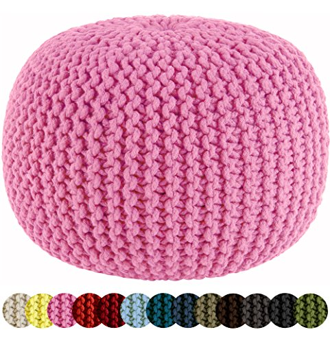 Cotton Craft - Hand Knitted Cable Style Dori Pouf - Pink - Floor Ottoman - 100% Cotton Braid Cord - Handmade & Hand stitched - Truly one of a kind seating - 20 Dia x 14 High by Cotton Craft