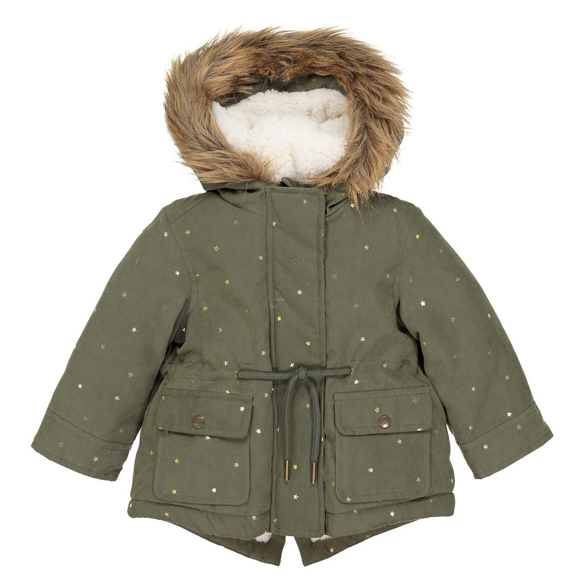 3 Months-3 Years La Redoute Collections Big Girls Star Print Hooded Parka