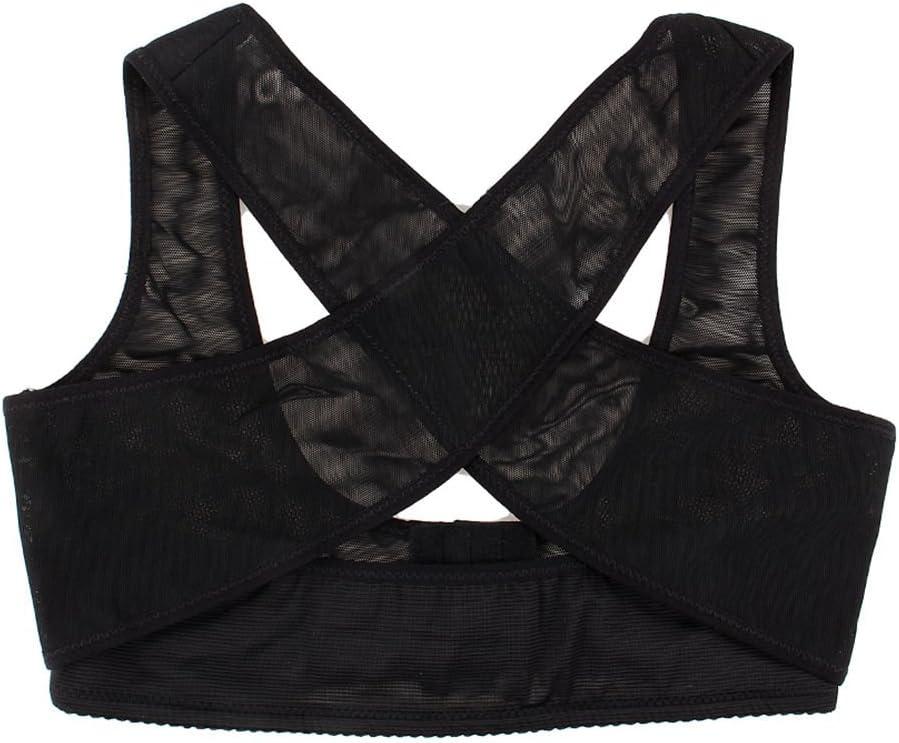 Yosoo Underwear Bra Prevent Chest Sagging Outside Enlarge Back Posture Aid Posture Corrective on The Chest for Female/Women X Type Pattern (Medium, Black)