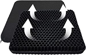 SUPTEMPO Gel Seat Cushion,Gel Office Chair Cushion,Seat Cushion with Non-Slip Cover Breathable Honeycomb Pain Relief Sitting Cushion for Office Chair Car Wheelchair (Black)