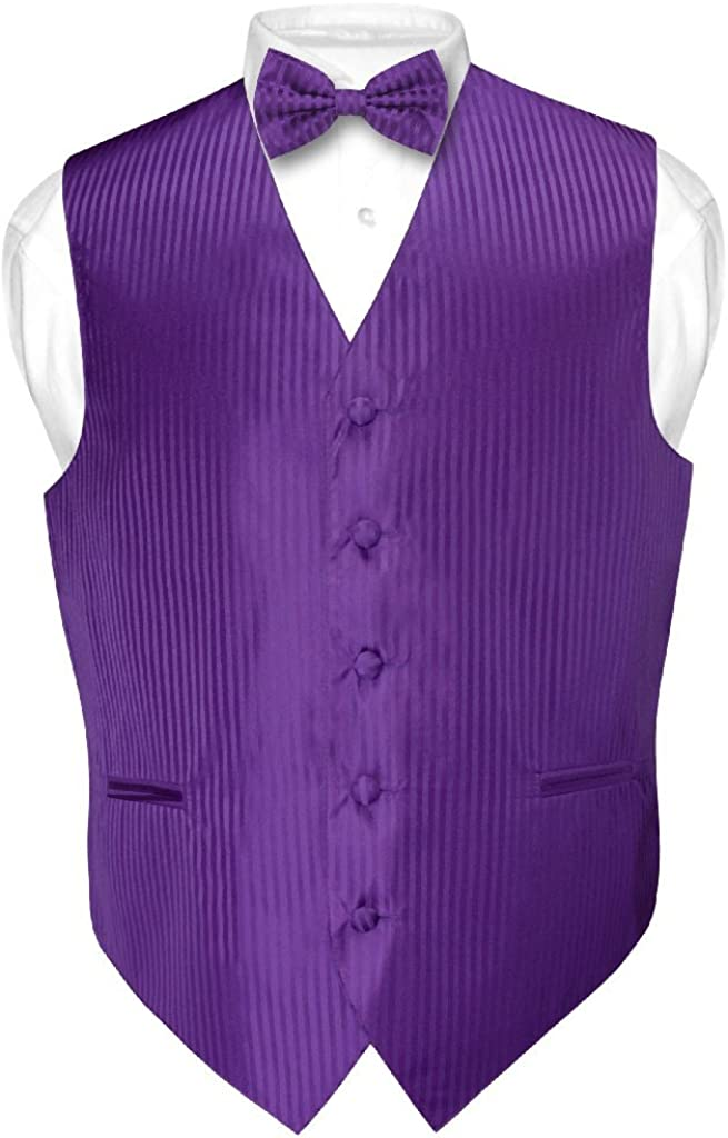 Men's Dress Vest & Bowtie Purple Color Vertical Striped Design Bow Tie Set