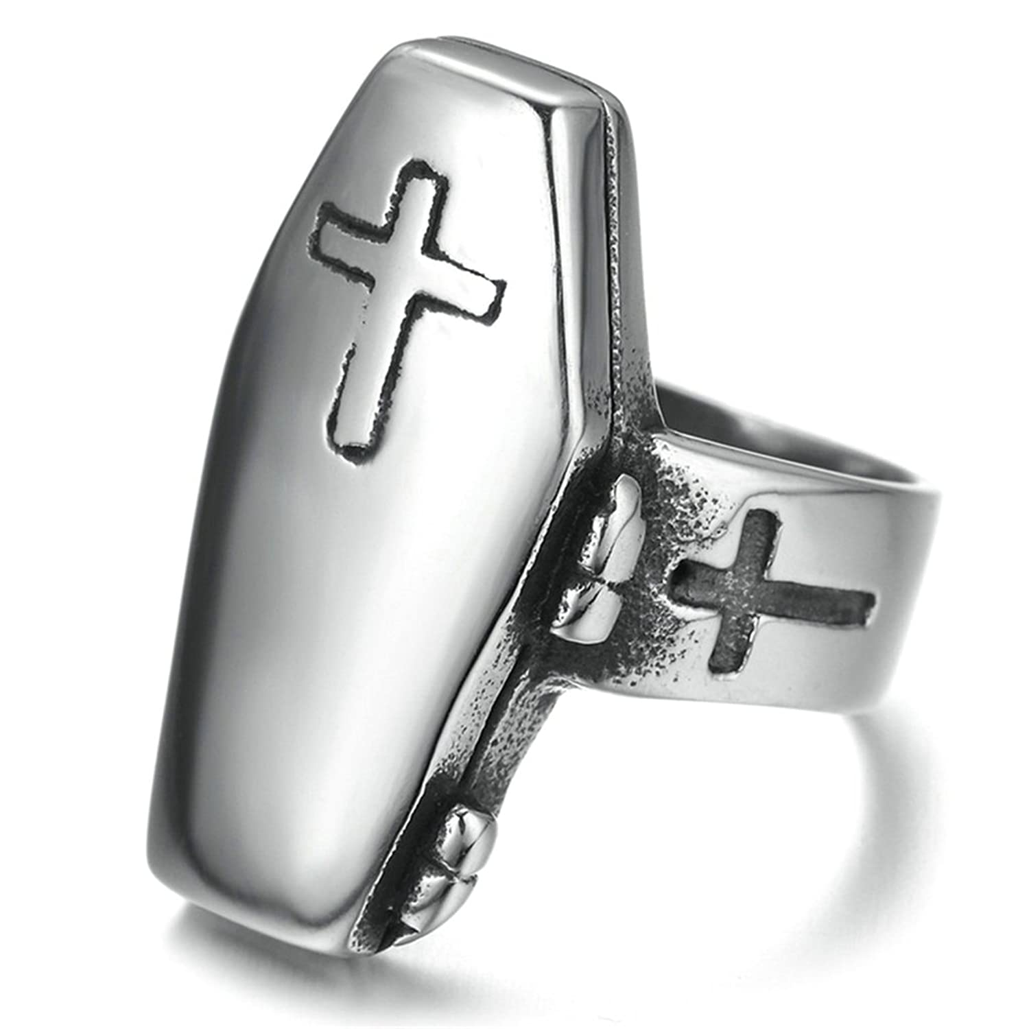 Gnzoe Men Stainless Steel Ring Retro Men Coffin Rings with Cross,Silver