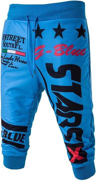 YEBIRAL Bermudas Pantalones Cortos Chandal Ancho de Los Hombres de ...