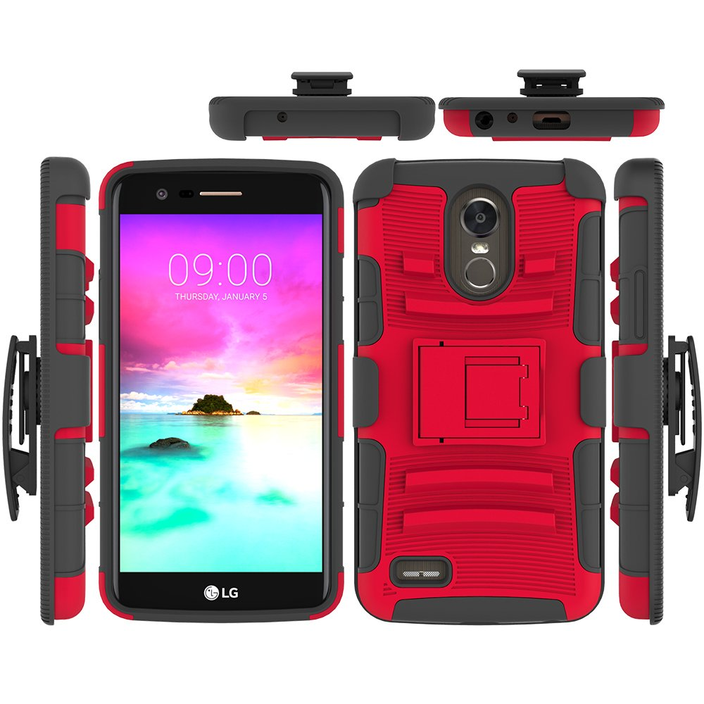 LG Stylo 3 Case, LG Stylo 3 Plus Case, LG Stylus 3 Case, FOLICE Hybrid Full-Body Protective Case Cover with Kickstand & Belt Clip Holster Combo for LG Stylo 3 (RED)