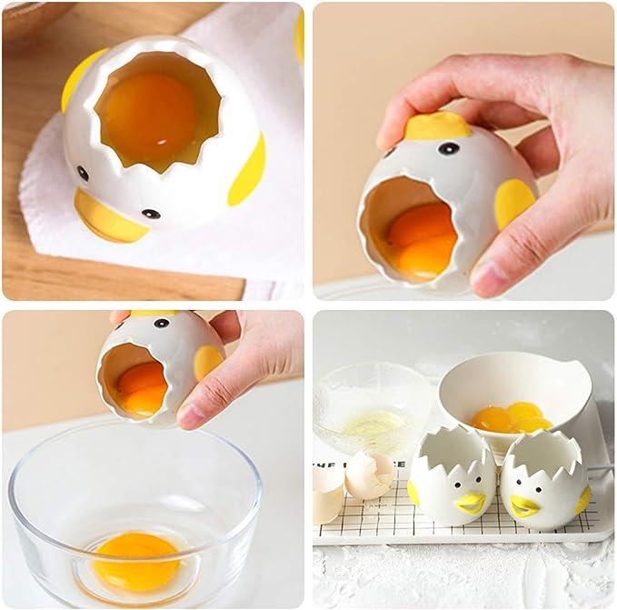 I-WILL Separador de Huevos de Cerámica Huevo de Pollo Yema Separador Clara Gadget Divisor de Proteína Linda Caricatura Rápido Separador Hogar ...