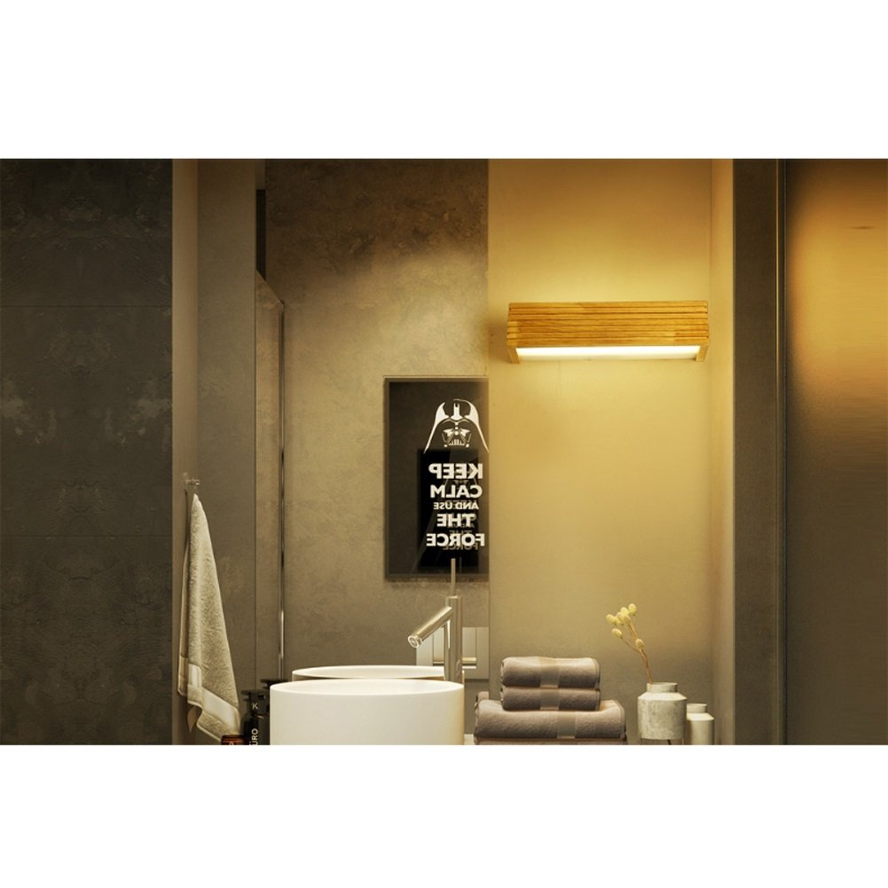Denuo En Nordic LED Lampe murale en bois massif Escalier Salle de bain Salle de bain Miroir Lampe avant Chambre Lampe de chevet Lampe murale Lampe japonaise Couleur : Warm White 35cm