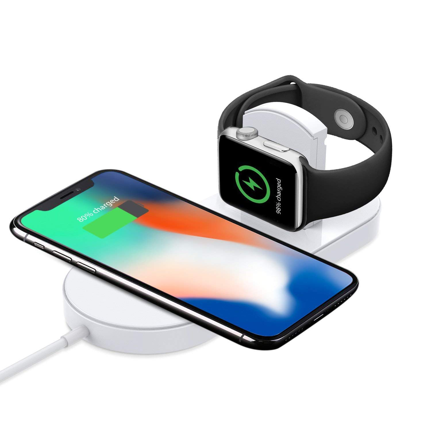 TrophyRak Magnetic Wireless Charger 2-in-1 Pad Stand Cable Compatible with Apple Watch, for iPhone X/8/8 Plus, Compatible with iWatch Series 1/2/3/4, 38mm 42mm, Samsung S8 Series, Note 8