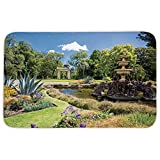Rectangular Area Rug Mat Rug,Country Decor,Fitzroy Gardens Summer Day View Fountain Historical Iconic Tourist Attraction,Home Decor Mat with Non Slip Backing
