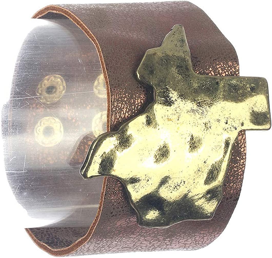 Bracelet State of Texas Faux Leather Band Metallic Finish Hammered Aged Finish Metal Double Snap Button Closure 7 Inch Long 2 Inch Tall Nickel and Lead Compliant