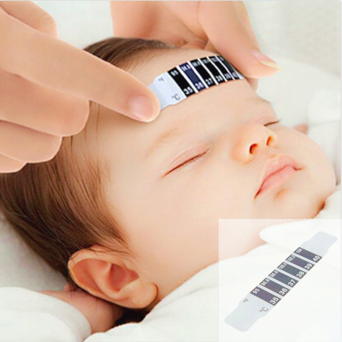 4Pcs Baby Kids Forehead Strip Thermometer Body Oxter Strip Fever Safety Healthy Temperature Test (10) by Rejuvia Clinic