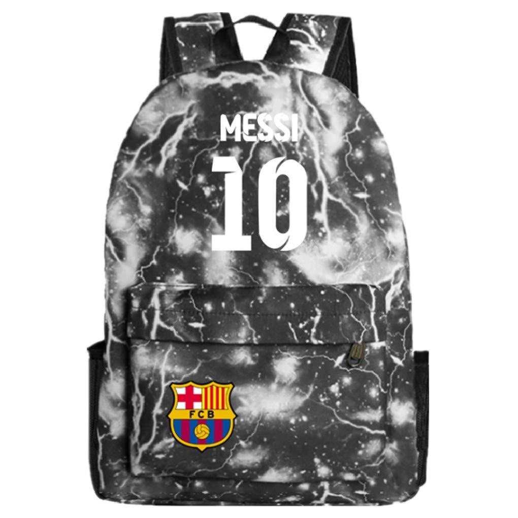 Barcelona Fans Backpack - Lionel Messi #10 Barcelona Rucksack for Back to School Noctilcent Bag (Galaxy Grey)