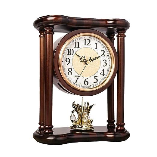 Reloj de Mesa, Reloj de La Chimenea con Pendular, de Madera Maciza ...