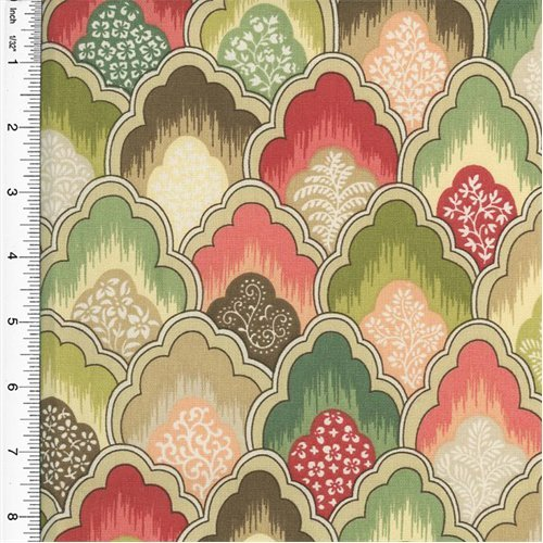 (Designer Cotton Pink/Green Scallop Print Home Decorating Fabric, Fabric by The Yard)