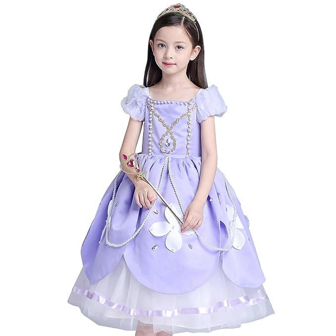 Lo mejor Sofia Rapunzel Disfraz infantil brillo vestido niña Navidad verkleidung Carnaval Fiesta Tangled Halloween fijo lila: Amazon.es: Ropa y accesorios