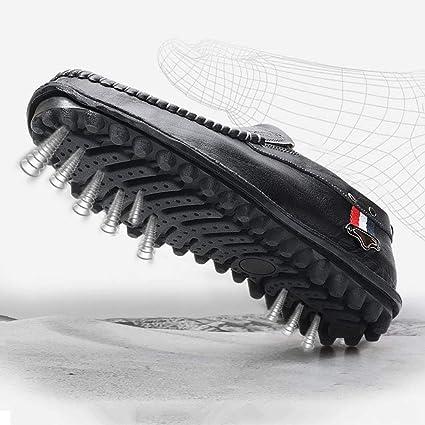 YAN Mocasines Casuales de los Hombres Zapatos Planos Resbalón en Trabajo de Trabajo Formal Cómodo Cuero Costura a Mano Antideslizante A pie de conducción ...