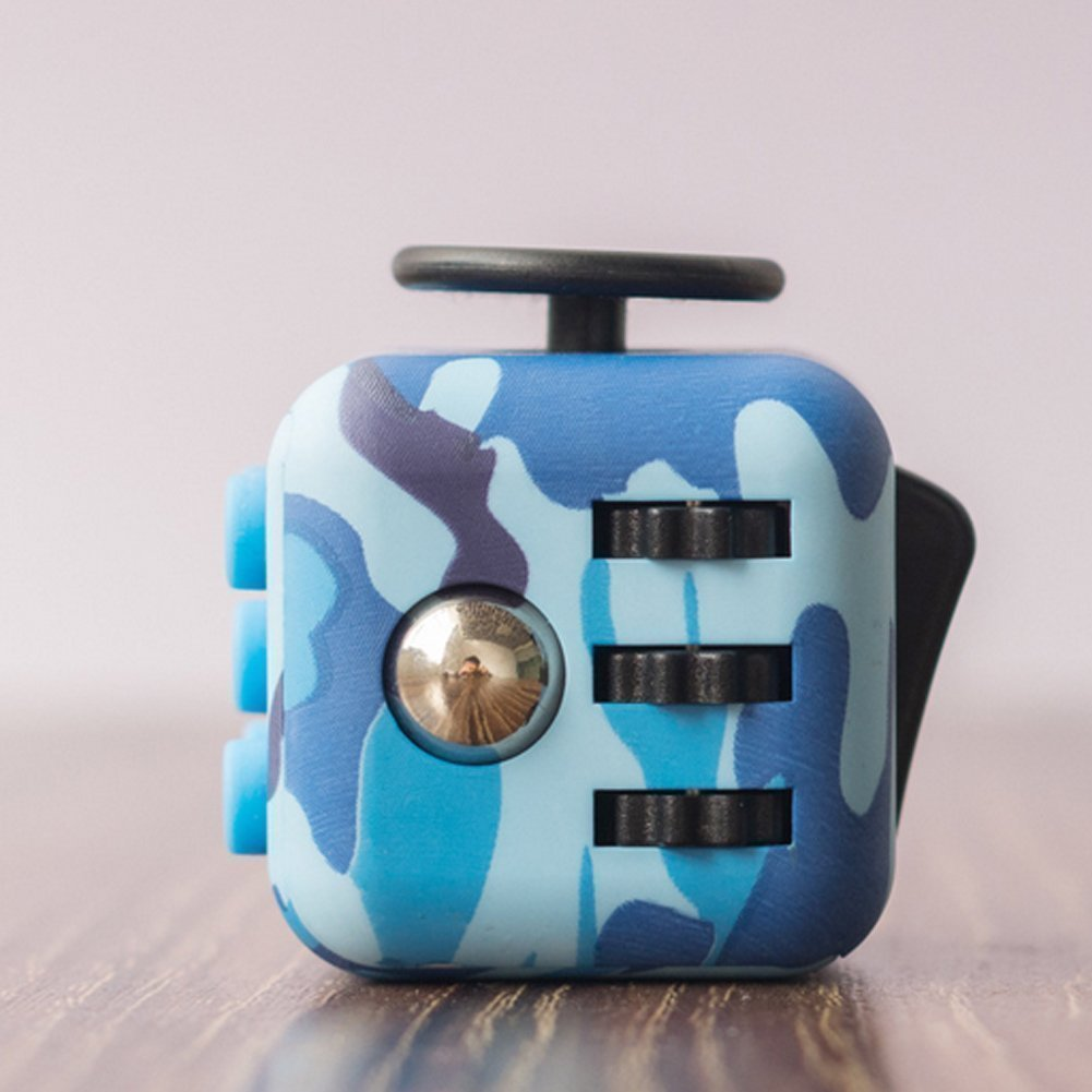 Fidget Cube Children and Adults Toy - Relieves Stress and Anxiety (Blue) MinNi