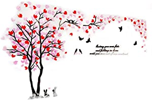 XMSJSIY Double Tree Wall Mural Decals for Bedroom Living Room DIY Tree 3D Wall Stickers for TV Sofa Backdrop Setting Wall for Home Decor Wall Decor-Hight 59inch (Medium 2.9x1.5, Red+Pink)