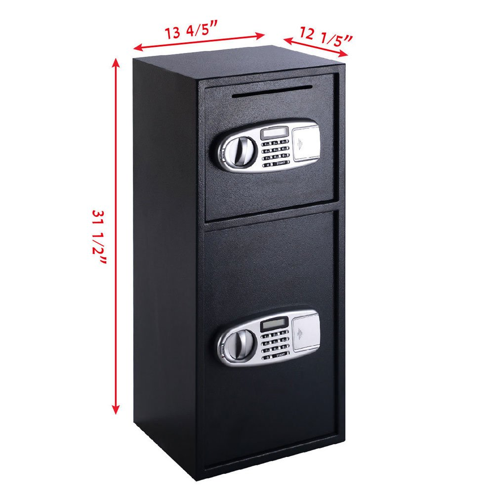 Leadzm Double-deck The Safe Coin Box Large Electronic Digital Steel Security Cabinet