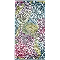 Safavieh Water Color Collection WTC672F Ivory and Fuchsia Runner, 22 x 8