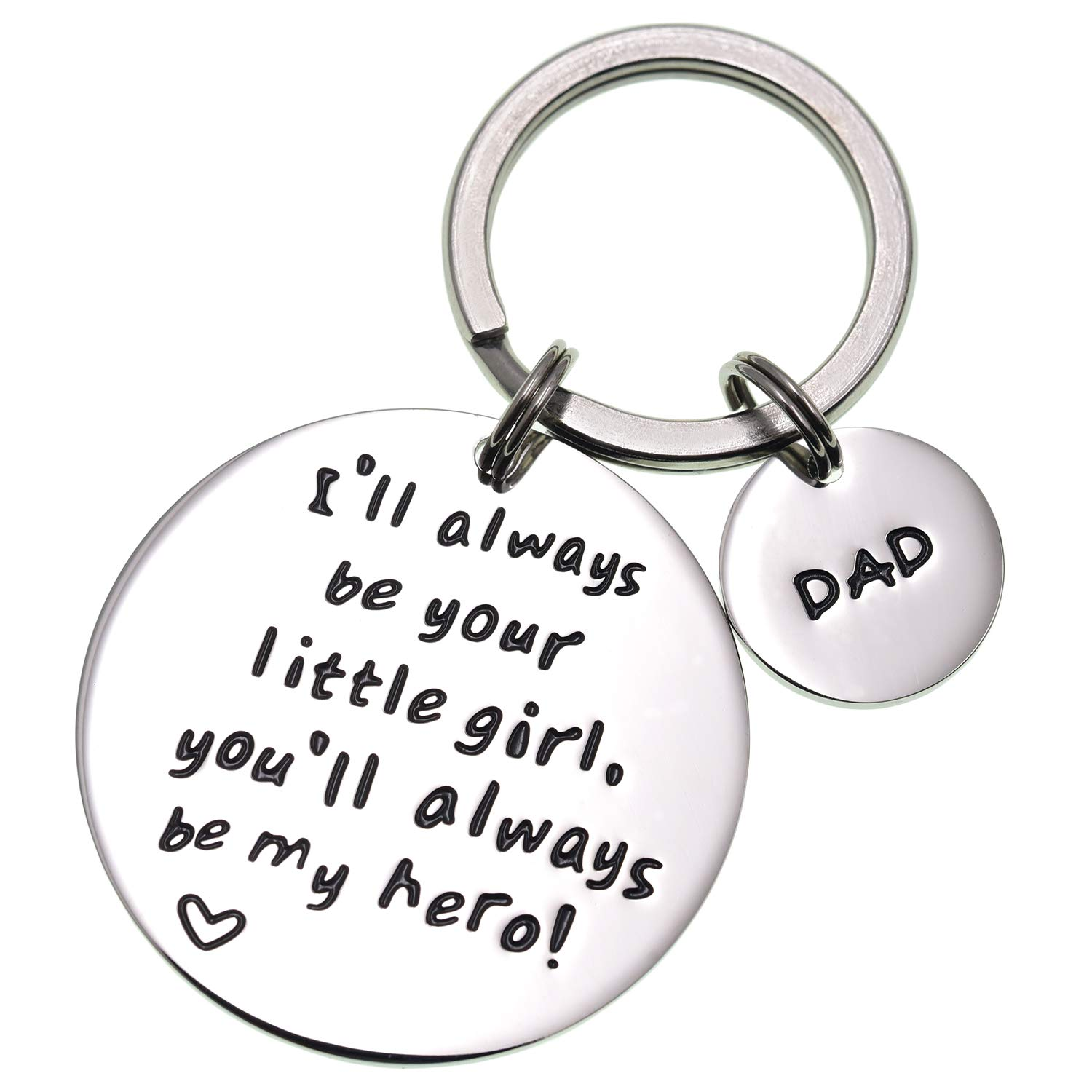 LParkin I'll Always Be Your Little Girl.You Will Always Be My Hero Keychain, Stainless Steel (White) by LParkin