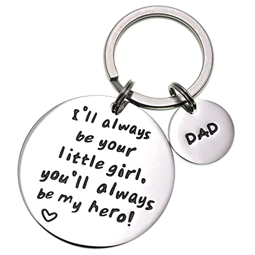 Amazon LParkin Ill Always Be Your Little GirlYou Will My Hero Keychain Stainless Steel White Jewelry