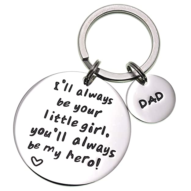 LParkin Fathers Day Keychain - Ill Always Be Your Little Girl.You Will Always Be My Hero Keychain, Stainless Steel