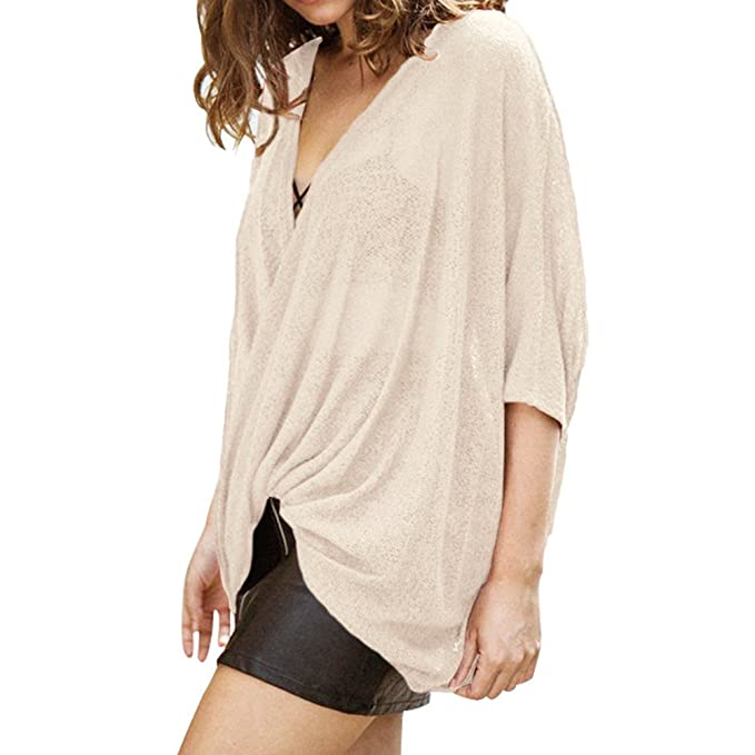 junkai Blusa Para Mujer, Oversize Camisas de Manga Corta Atractiva Mujeres Tops de Ocasionale Camiseta