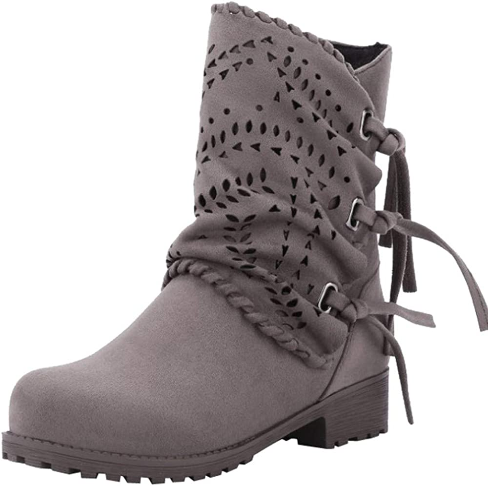 Caopixx Boots for Womens Chunky Heel Ankle Booties Fashion Short Boots Zipper Boots