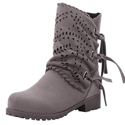 Zapatos Mujer Otoño Invierno Botines Mujer,ZARLLE Moda Botas de Nieve Mujer Zapatos de Nieve cálida Ahueca hacia Fuera Botas de Ante del Vendaje de señoras ...