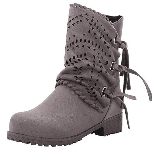 2018 Moda Botas de Alto talón Otoño Invierno Zapatos Mujer Botines de tacón Grueso con Cordones Mujer Martin Botines Altos Talones Botas de Nieve Warm Piel ...