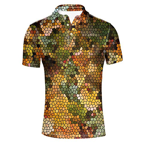 HUGS IDEA Fashion Men's Jersey Polos Shirts Summer Breathable Short Sleeves Geometry Print T-Shirt Tee Tops