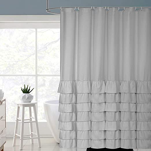 Farmhouse Shower Curtain Bathroom Accessories Fabric Elegant Chic Home Decor