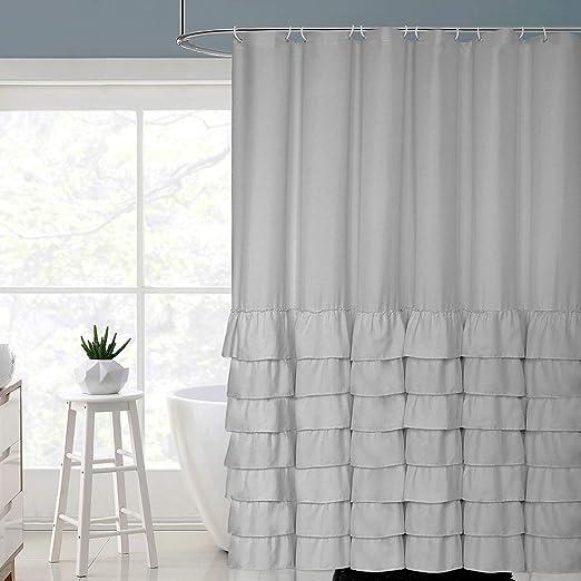 Amazon Com Volens Gray Grey Ruffle Shower Curtain Farmhouse Rustic Cloth Shower Curtains For Bathroom Fabric Bath Curtain 72x72 Inch Long Home Kitchen