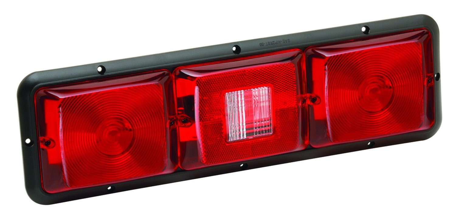 Bragman 84 Series Standard Taillight (Recessed Triple Long Horizontal Red, Backup, Red-Black Base) 30-84-103