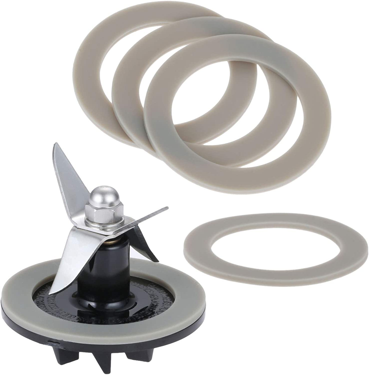 Blade Cutting Cutter SPB-456-2 with 5 Gasket Rubber Sealing Seal O-ring, Replacement for Cuisinart Blenders # BFP703 BFP-703 BFP703B BFP-703CH SPB7 SPB-7BK CB8 CB9 BFP-703