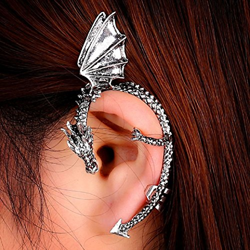 Coromose Metal Dragon Bite Ear Cuff Wrap Earring Gothic Punk Temptation Earring (Silver)