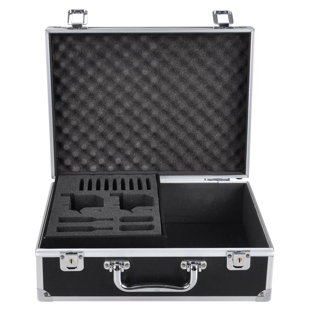 AW Professional Tattoo Kit Case W/Lock Key Aluminum Carry Storage Supply Bag Potable 12x9x4'' Black