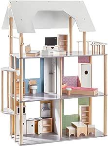 Amazon.es: Howa Casa de muñecas de Madera con 19 Piezas Muebles incluidos, para muñecas de 30 cm 70103: Juguetes y juegos
