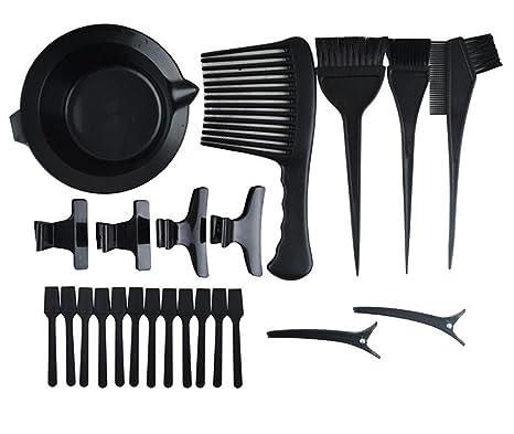 1 Set (23 pcs) negro profesional Herramientas de tinte de cabello mezcla cuenco peines