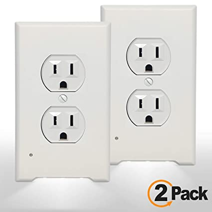 2Pack 3 LED Night Light Outlet Cover Plate-No Wires Or Batteries,Light  Sensor Auto Guidelight,Install easy,With 0 3W High Brightness LED  Light,Energy