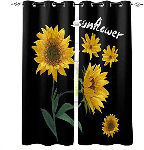 Amazon Com Sunflower Blackout White Backing Curtains For Bedroom Thermal Insulated Window Treatment Curtain Drapes Living Room 40x84 Inch A Bunch Of Sunflowers With Green Leaves Black Backdrop Home Kitchen